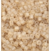 Square Beads 3.4x3.4mm Round Hole Light Gold Luster Matte